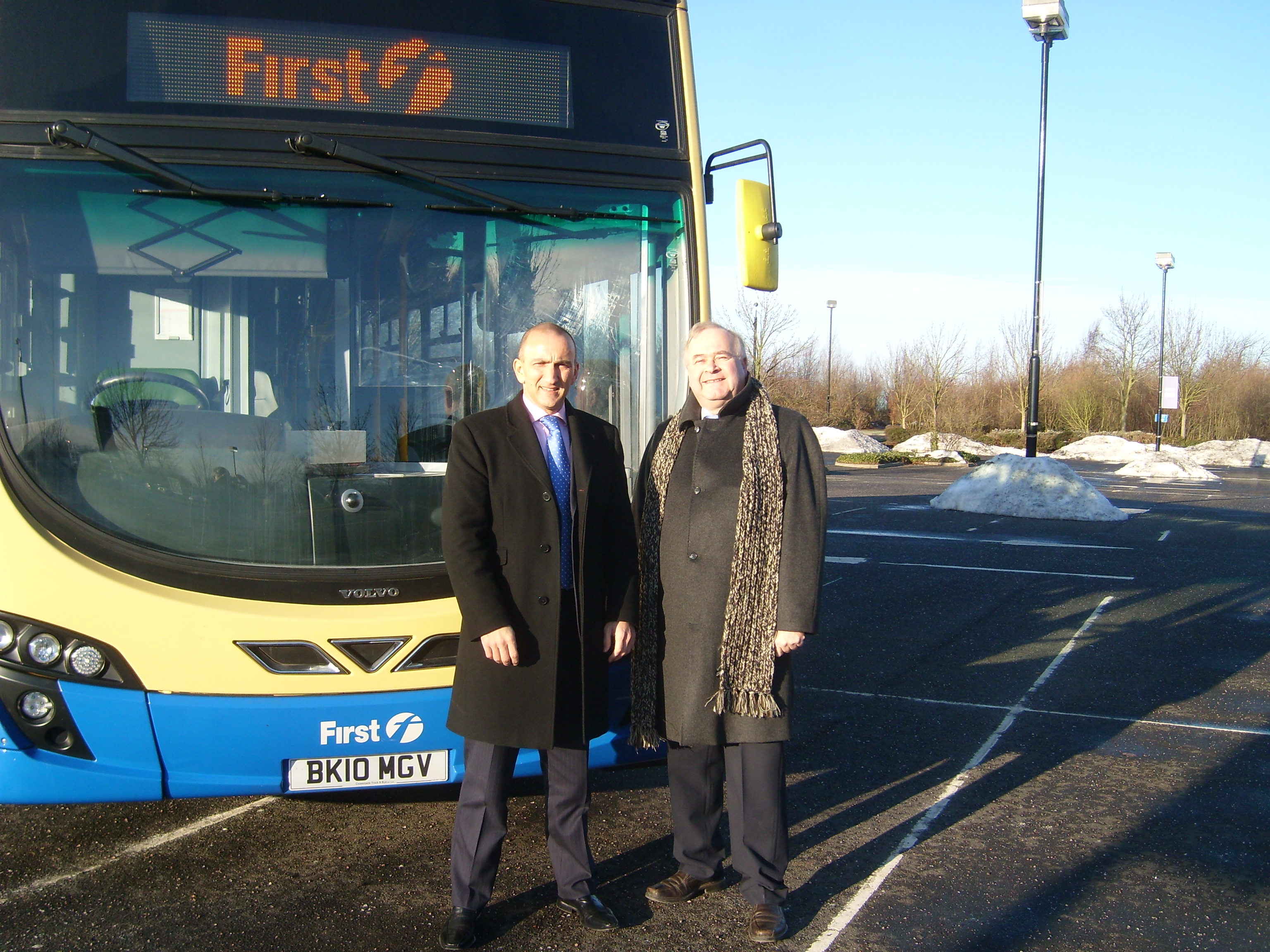 Steve Galloway with Dave Alexander Managing Director of First buses