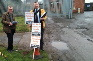 Former Coucnil Leader Andrew Waller joins Richard Hill in opposing the closure of the backfield Lane recycling centre in 2012