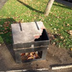 Damaged salt bin Cornlands Road