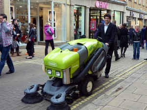 Cllr Levene attempting to master a street sweeper. Coming to street near you? Probably not!