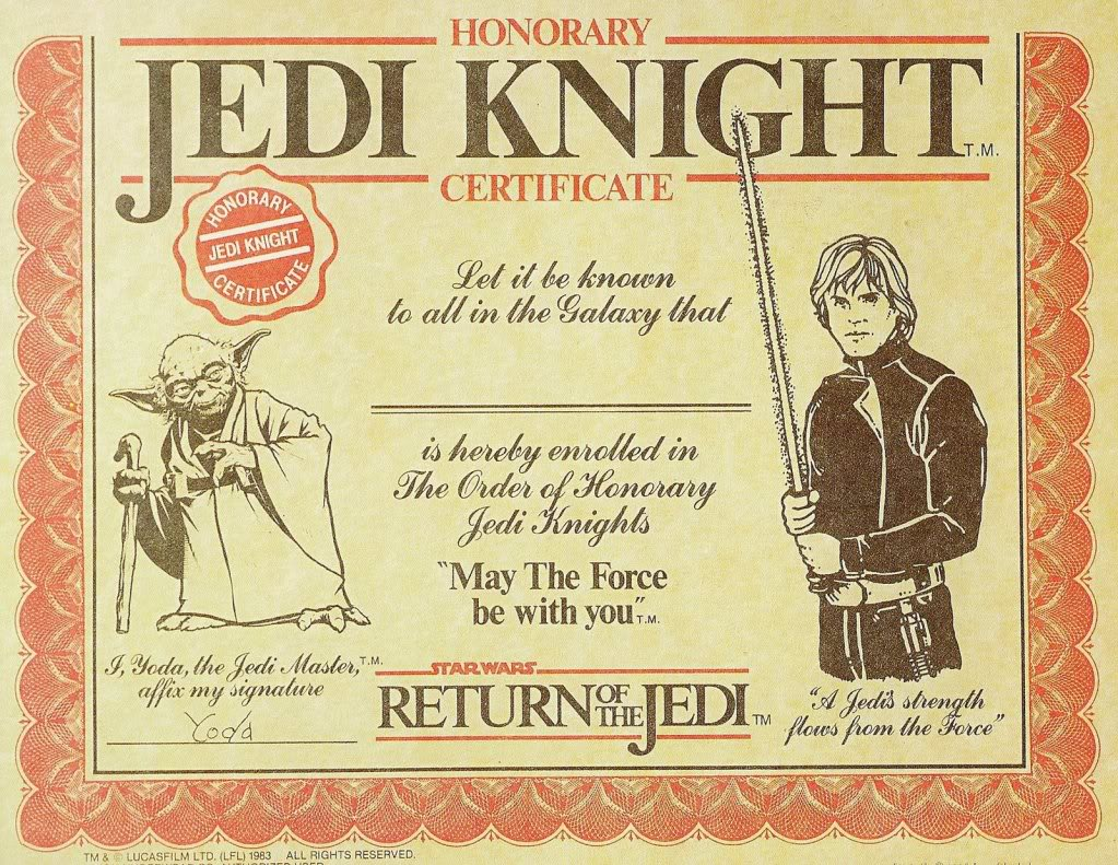 Free printable star wars jedi certificates search for Star wars jedi certificate template free