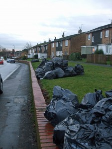 Bin bags stacked in Gale Lane
