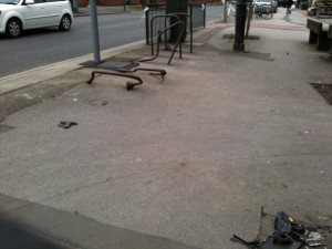 Vandalised cycle stands in Front Street