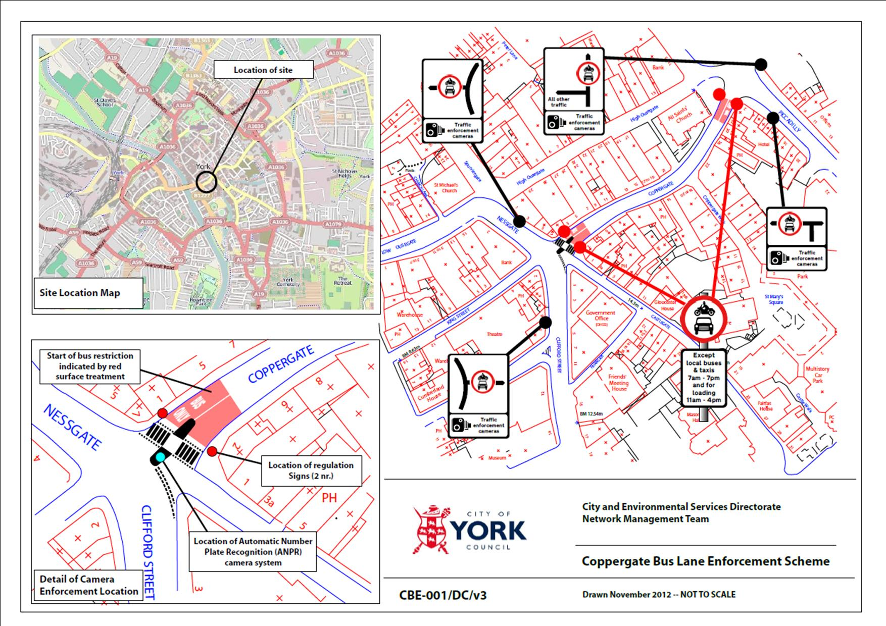 Coppergate bus lane enforcement plans  June 2013