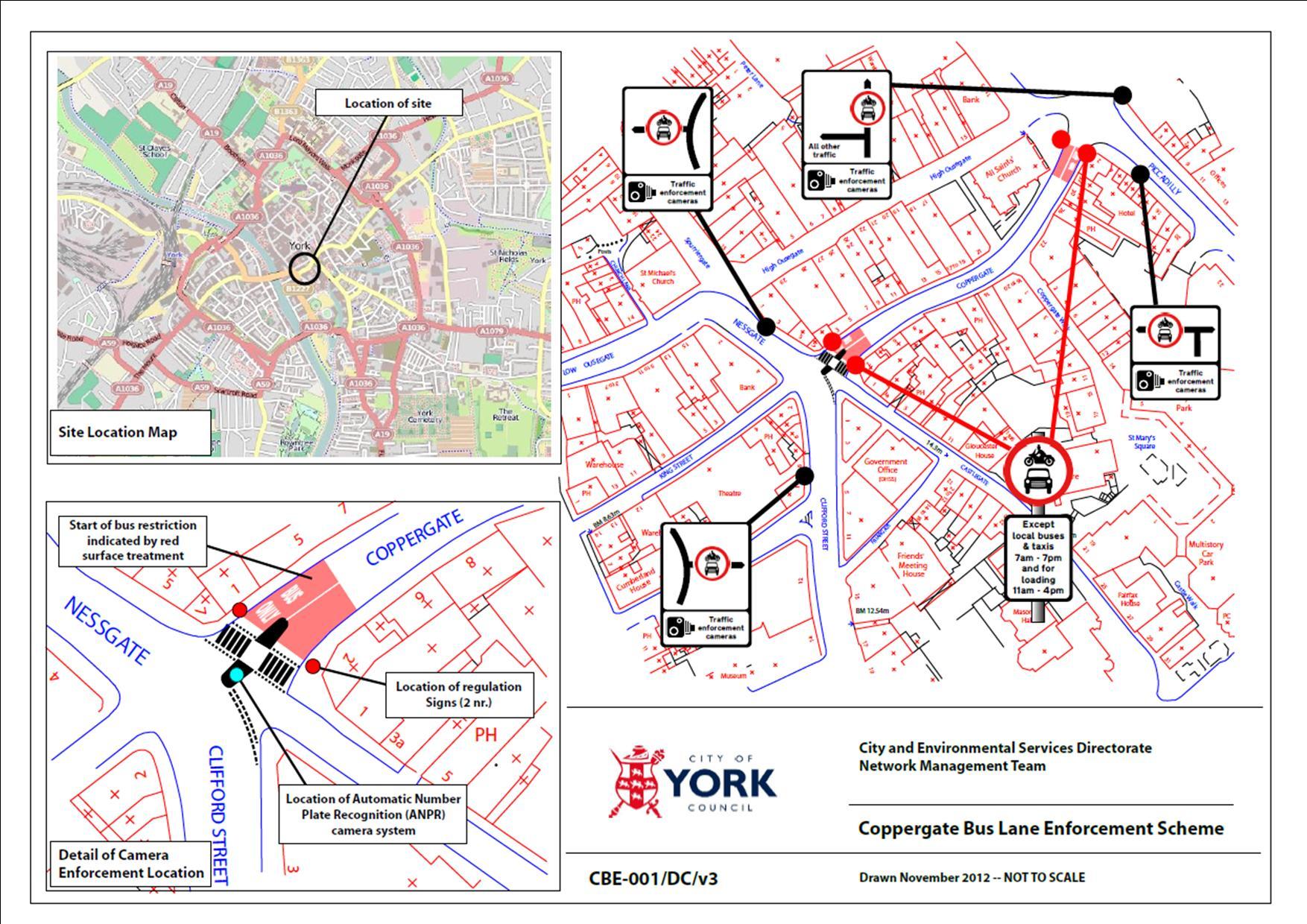 Coppergate bus lane enforcement plans  June 2013
