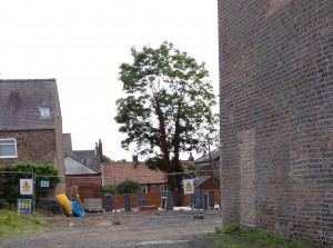 Garages being demolished near 42A The Green in Acomb