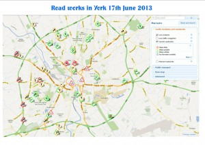York road works map