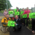 "Local residents backing the ""save the green belt"" campaign"