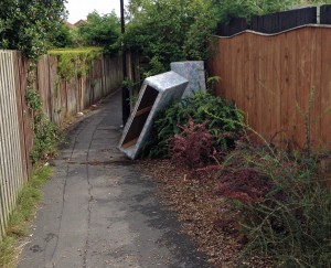 Dumping and litter on Tithe Close snicket reported on 23rd August. Partly blamed on cancelation of skip programme in the Cornlands area