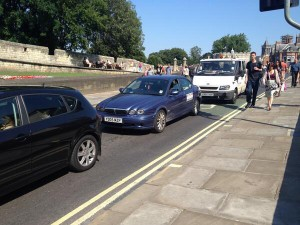 Traffic on Lendal bridge after closure