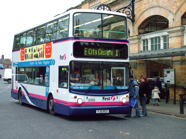 Number 1 bus at station