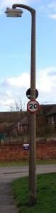 20 mph sign installed within 5 metres of a sharp right bend.