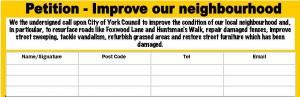 Improve our neighbourhood petition