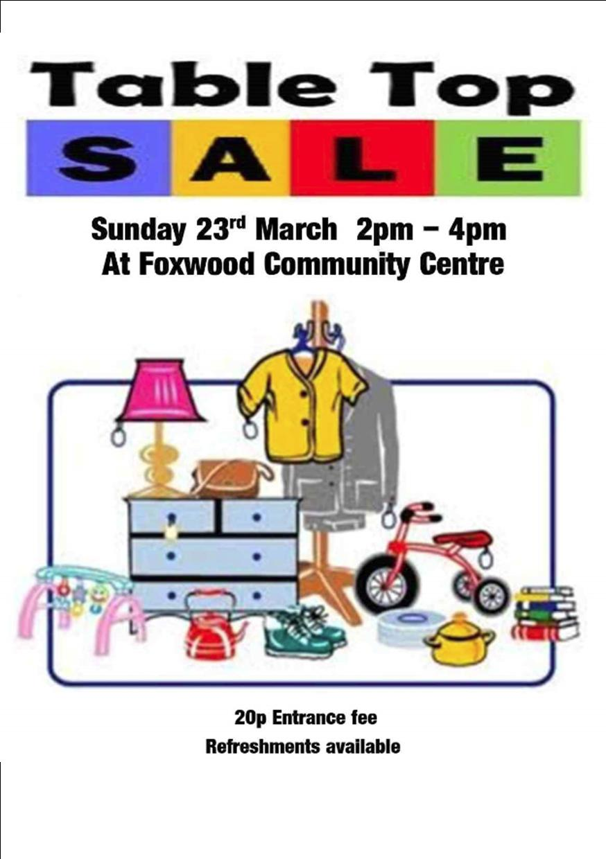 Today Table Top Sale At The Foxwood Community Centre
