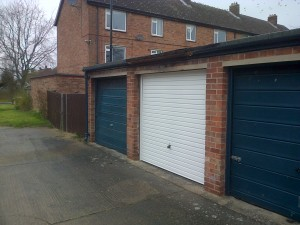 Newly refurbished garage door on Wednesday