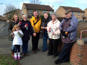 Former Council leader Andrew Waller (yellow jacket) joined residents in their anti dog fouling campaign