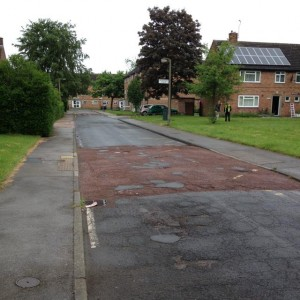 Crumbling road surfaces on Windsor Garth