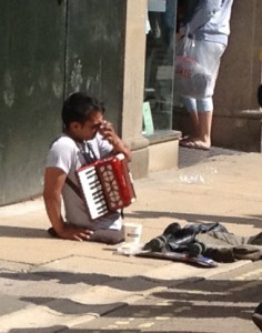 Disabled busker on Coney Street