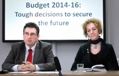Council Leader with Cllr Simpson Laing (right) a few weeks before she was sacked from her Social care post