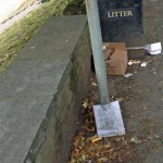Full litter bins and detritus on river banks