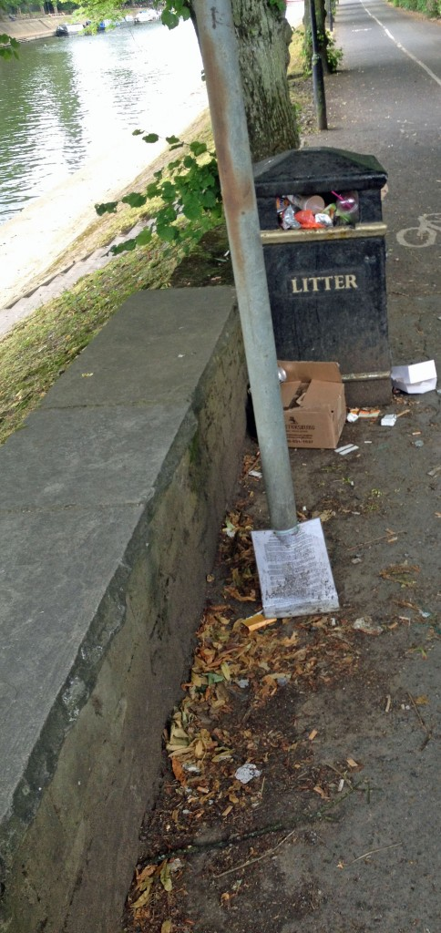 Litter Esplanade car park river bank near Scarborough Bridge