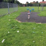 Litter still  covers the Cornlands playground