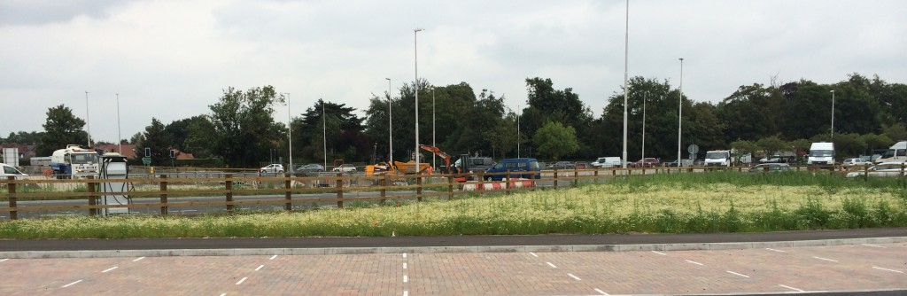 Continuing road works, lane closures and car park construction at Poppleton Bar 1st August 2014