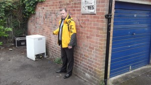 Andrew Waller points out some dumping which he reported on Saturday in the little Green Lane garage area