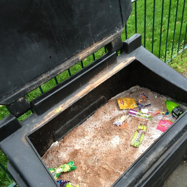 Salt bins filled with rubbish