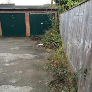 Overgrown garage area