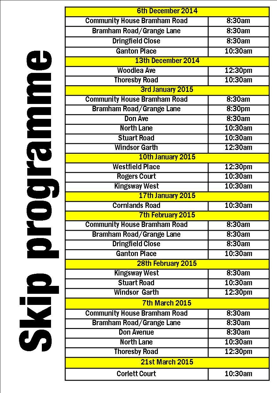Skip locations Dec to Mar Programme