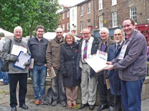 from left to right Cllr Ian Cuthbertson, Derek Wann, Martin Lewis Crosby, Cllr Carol Runciman, Chris Cullwick, Cllr Keith Orrell, Cllr Brain Watson (Independent Councillor) and Cllr Keith Aspden - at a recent event in Parliament Street collecting signatures for the petition to save Yearsley Pool.