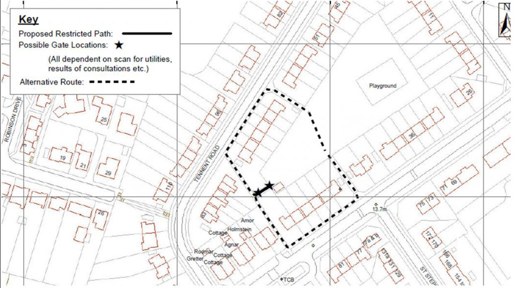 Cornlands Park entrance closure proposal click to enlarge