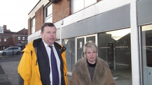 Acomb Alive representqaives Adndrew Waller and Sue Hunter outside the Front Street shop which will be converted for use by Boyes
