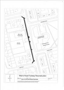 Wains Road footpath resurfacing cllck to enlarge