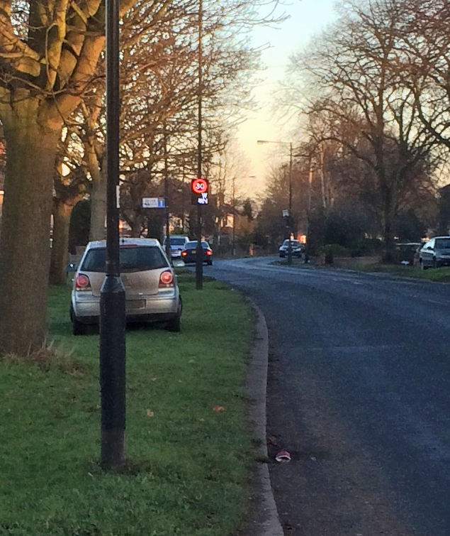 30 mph sign lit wetherby Road 4th Jan 2015 1500 hours