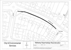Wetherby Road footpath being reconstructed, click to enlarge