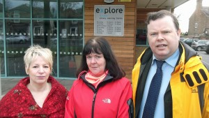 Cllr Sue Hunter, Cllr Sheena Jackson and Cllr Andrew Waller outside the Acomb Explore Library