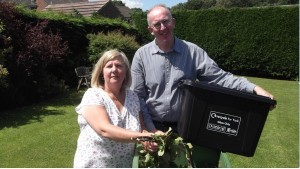 Cllr Ann Reid and local LibDem candidate Stephen Fenton with green waste