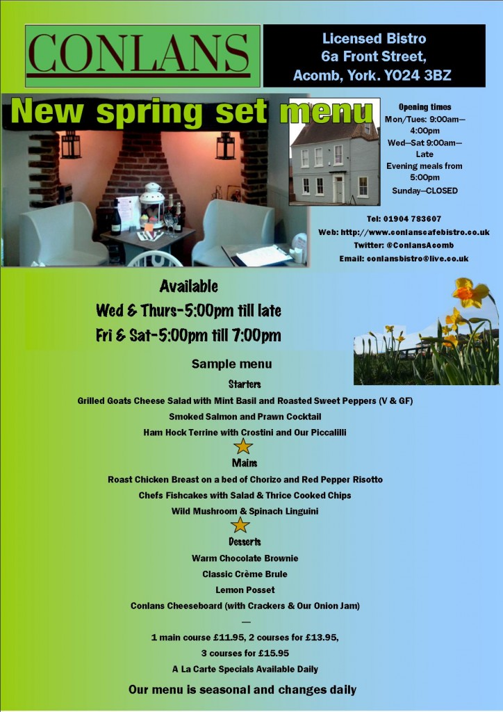 Conlans launch new spring menu. click to enlarge