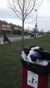 Overflowing poop scoop bin in Grange Lane