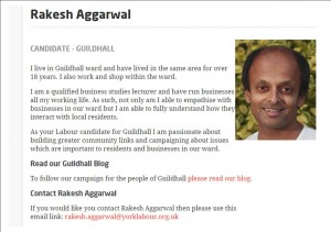 Aggarwal candidate announcement on Labour Web site