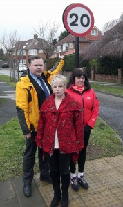 LibDem candidates Andrew Waller, Sue Hunter and Sheena Jackson with one of the signs which was place at the entrance to a short cul de sac