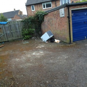 Fly tipping on Green Lane Acomb garage forecourt