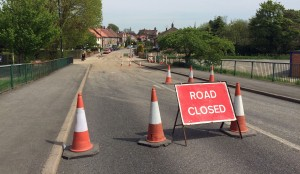 St Helen's Road 1400 hours 15th may 2015. Workers and plant gone. Road still officially closed.