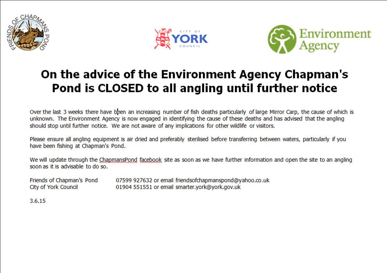 Chapmans Pond closed
