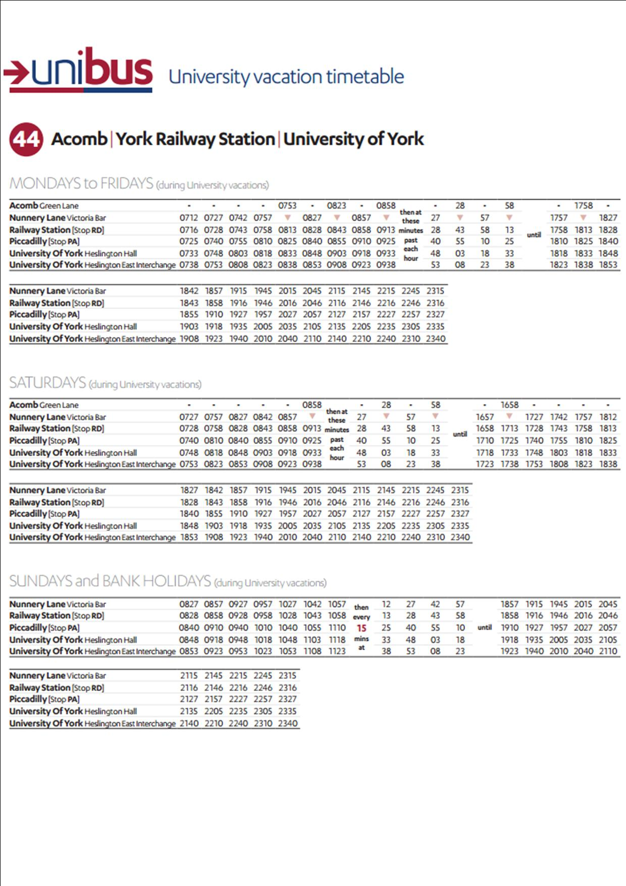Green Lane to University bus timetable click to enlarge