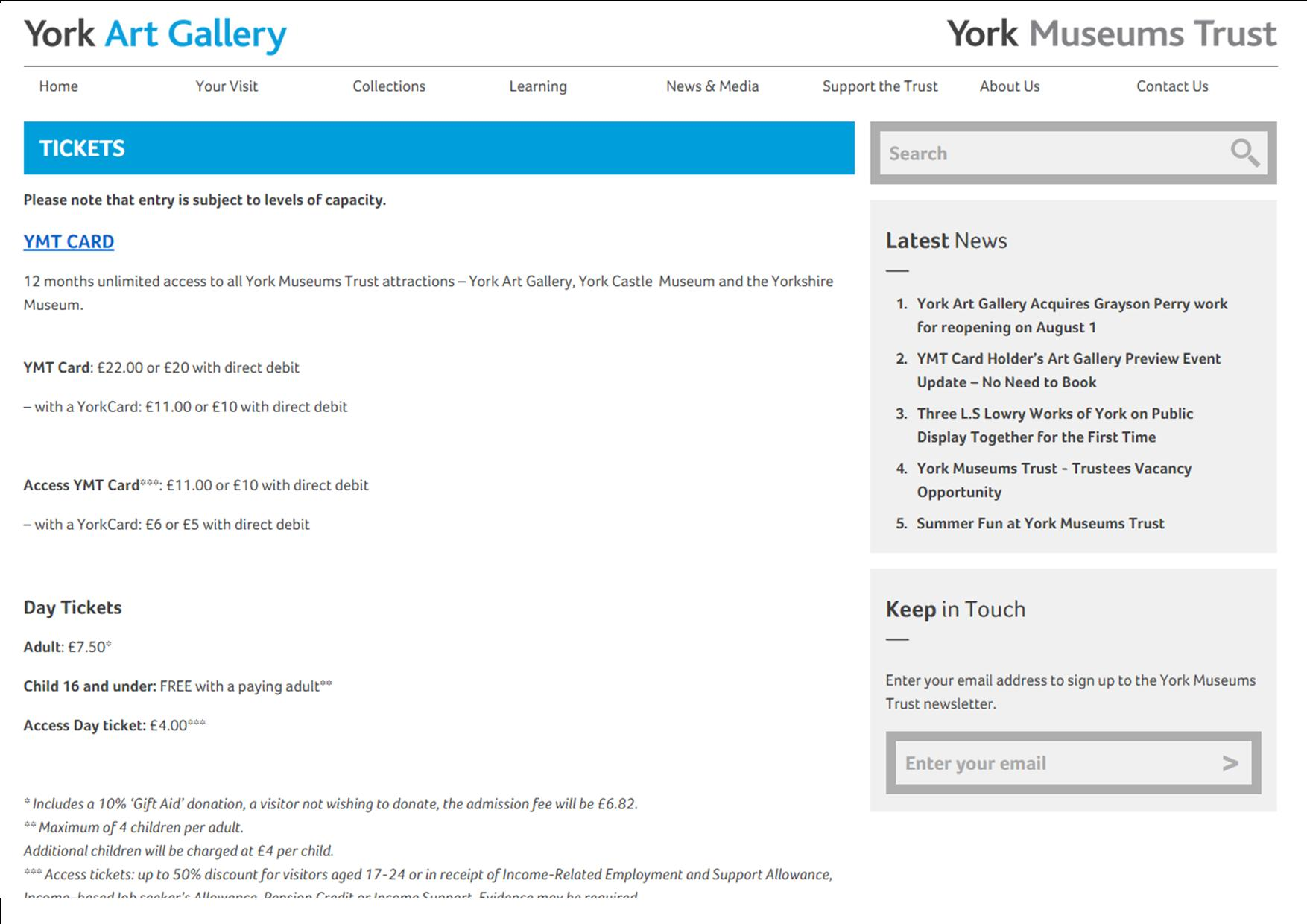 Art gallery charges