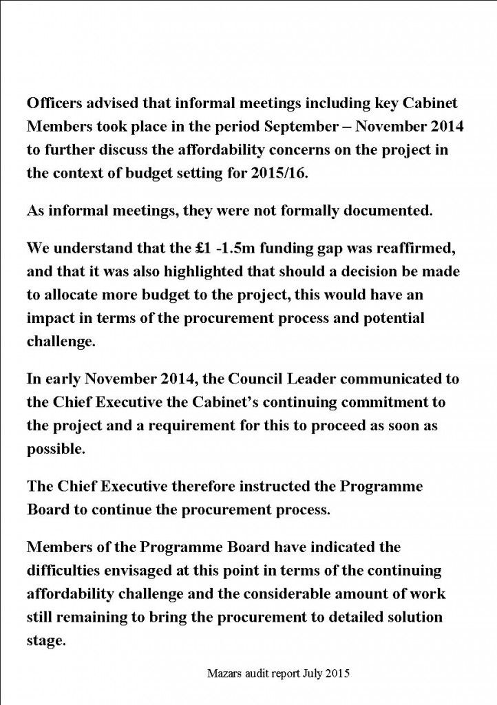 Extract from auditors report click to enlarge