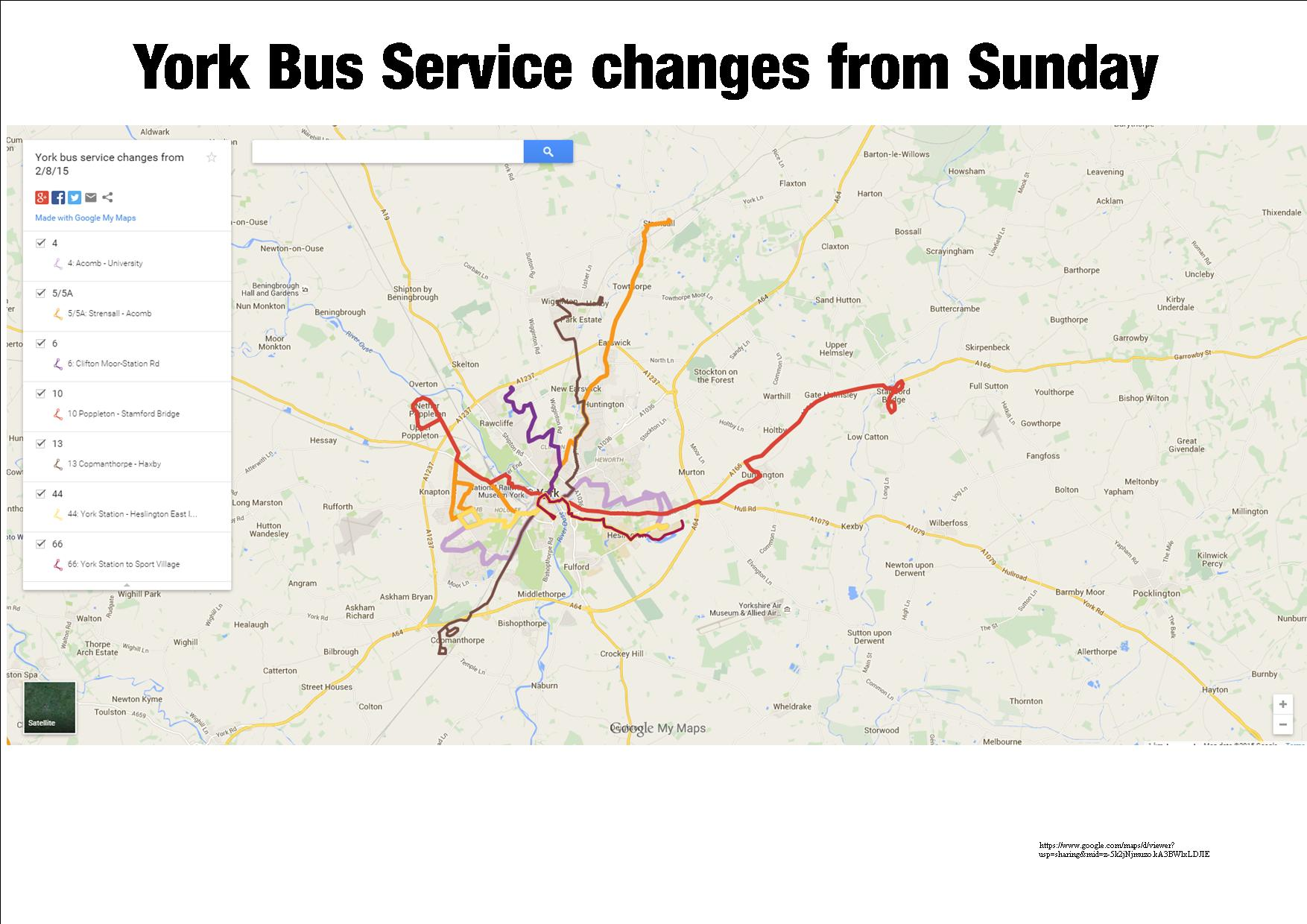York bus service chnages 2nd Aug 2015